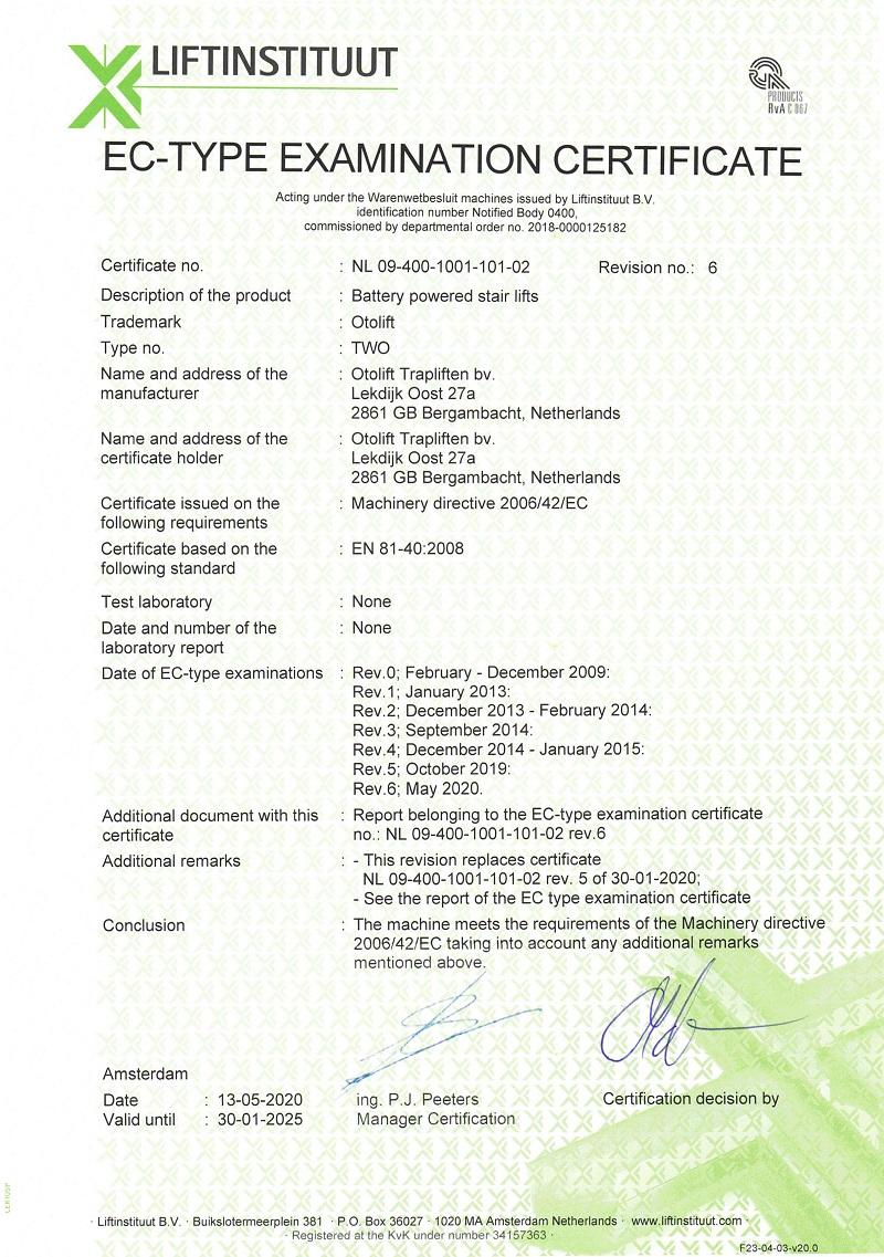 OTOLIFT 彎曲型樓梯升降椅檢驗證書