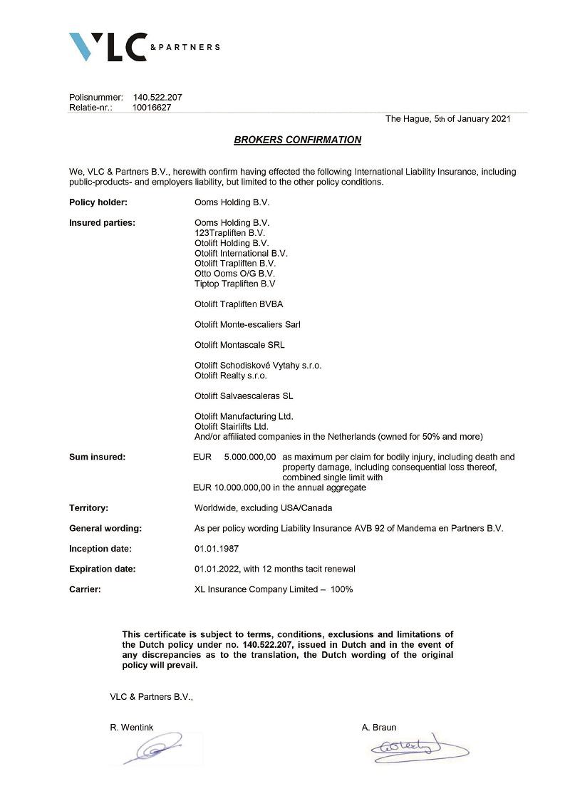 原廠產品責任險證明書